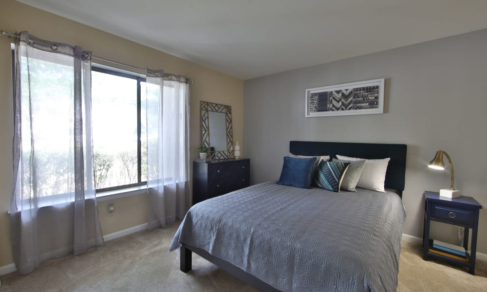 Enjoy apartments with a cozy bedroom at Northampton Apartment Homes