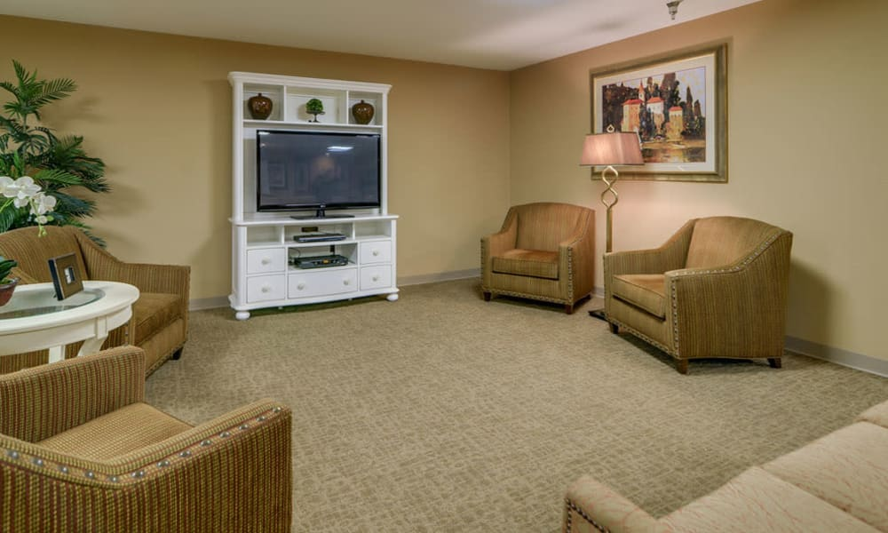 Entertainment room with comfortable seating at Ashbrook in Farmington, Missouri