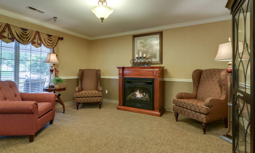 Fireside seating at Ashbrook in Farmington, Missouri