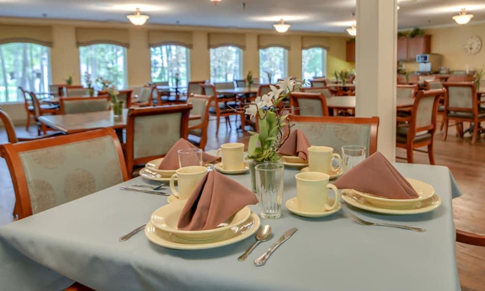 Dining area at the center of Ashbrook in Farmington, Missouri