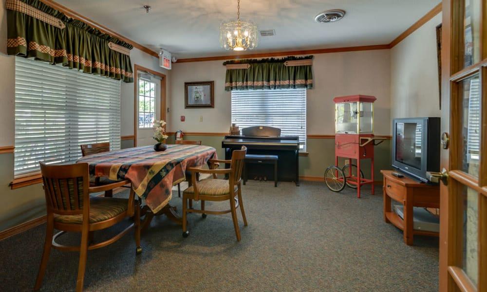 Resident entertainment room at Oswego Home Place in Oswego, Kansas