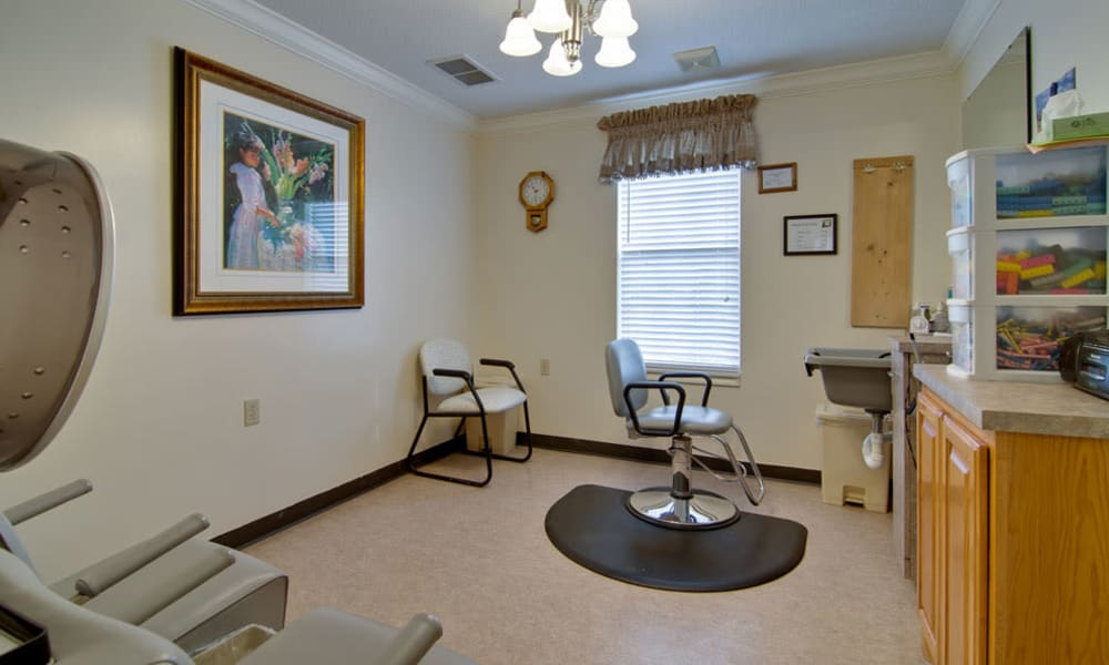 Resident hair salon at Dunsford Court in Sullivan, Missouri