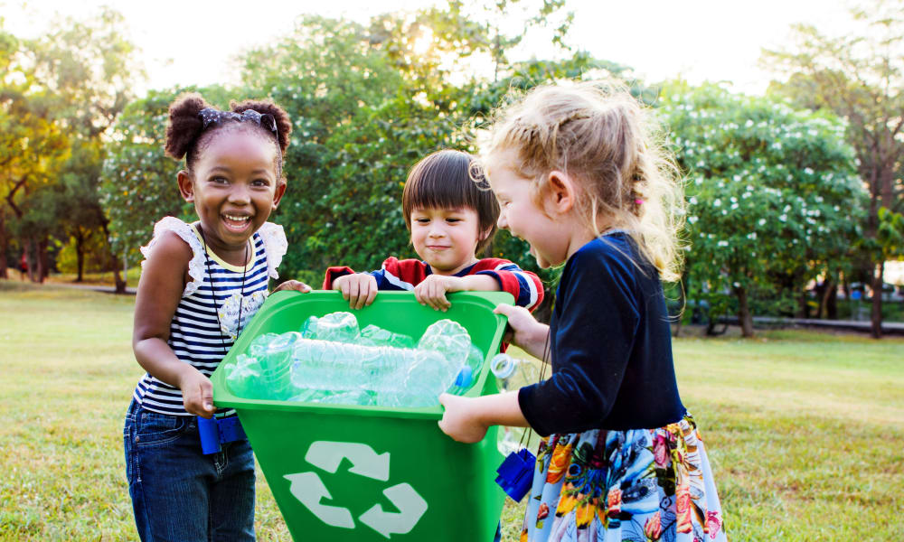 Kids recycling at Georgian Court in Silver Spring, Maryland