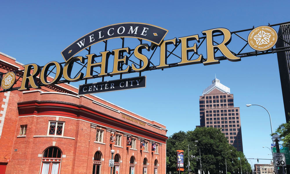 Welcome sign of Rochester, New York