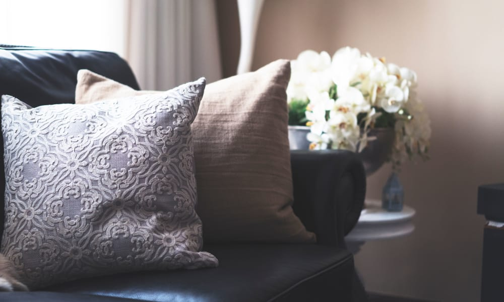 Decorative pillows and flowers in apartment at Lincoln Park Towers in Newark, New Jersey