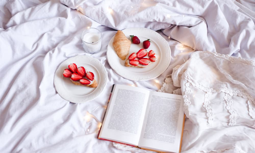 Treats and a book on the bed at Little River Square in Annandale, Virginia