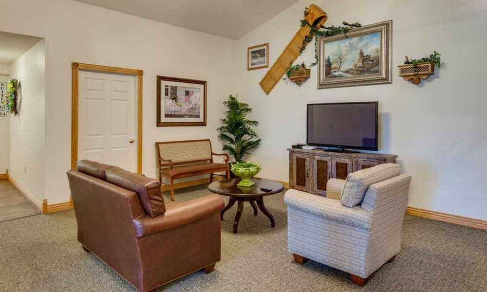 Entertainment room with comfortable seating at Victorian Place of Hermann in Hermann, Missouri