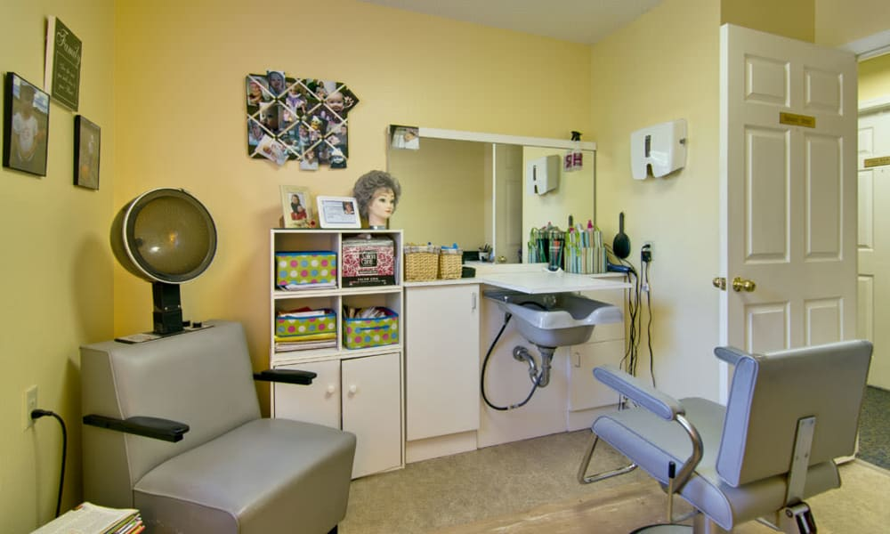 Resident hair salon at SpringHill in Neosho, Missouri
