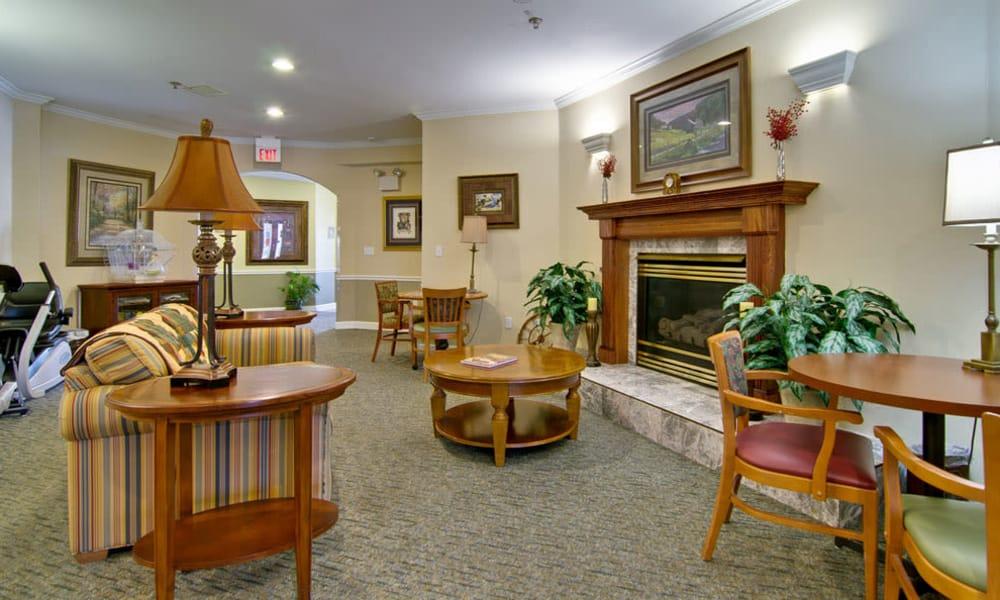 Fireside seating at Ashland Villa in Ashland, Missouri