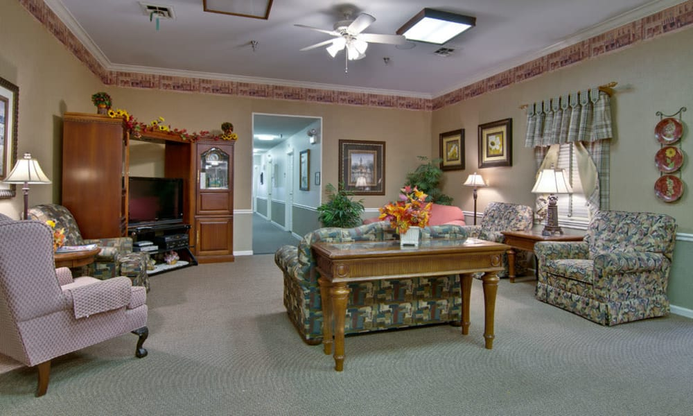 Entertainment room with comfortable seating at Willow Brooke in Union, Missouri