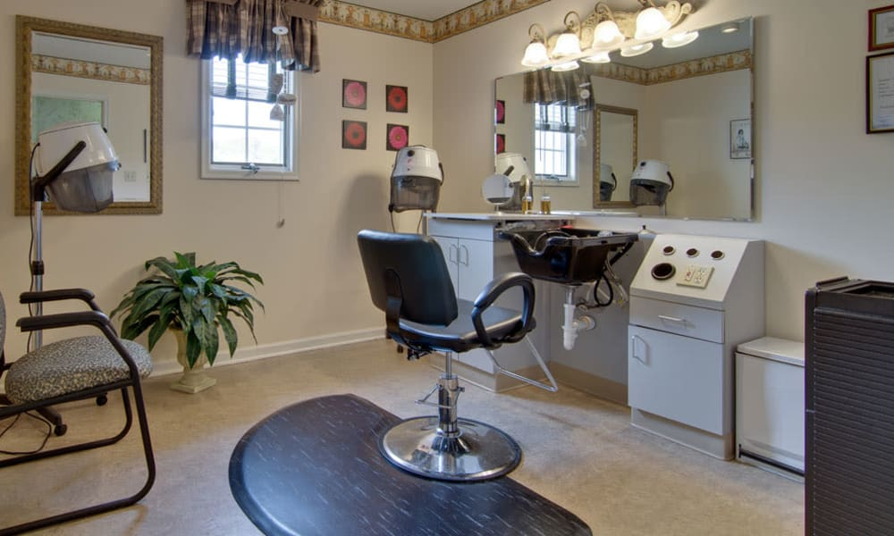 Resident hair salon at Willow Brooke in Union, Missouri