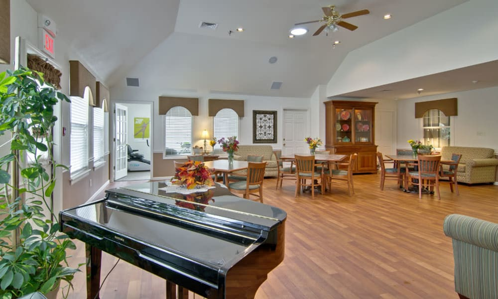 Music corner in the dining room at Willow Brooke in Union, Missouri