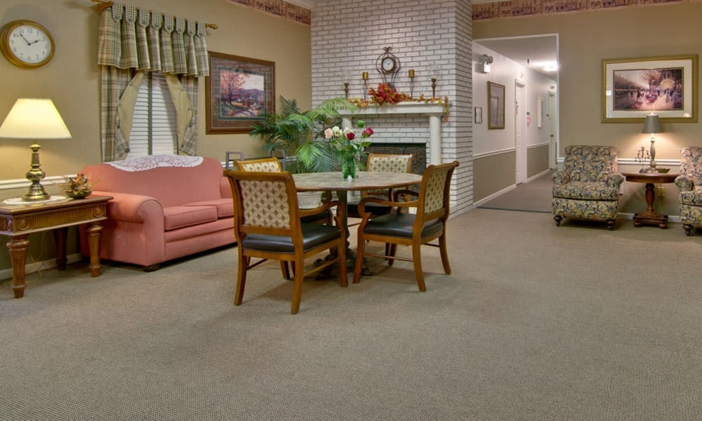 Community lounge with comfortable seating at Willow Brooke in Union, MO