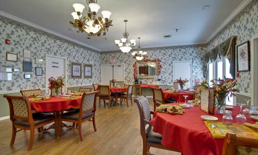 Dining area at the center of Willow Brooke in Union, Missouri
