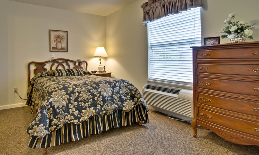 Spacious single bedroom at Jefferson Gardens Senior Living in Clinton, Missouri
