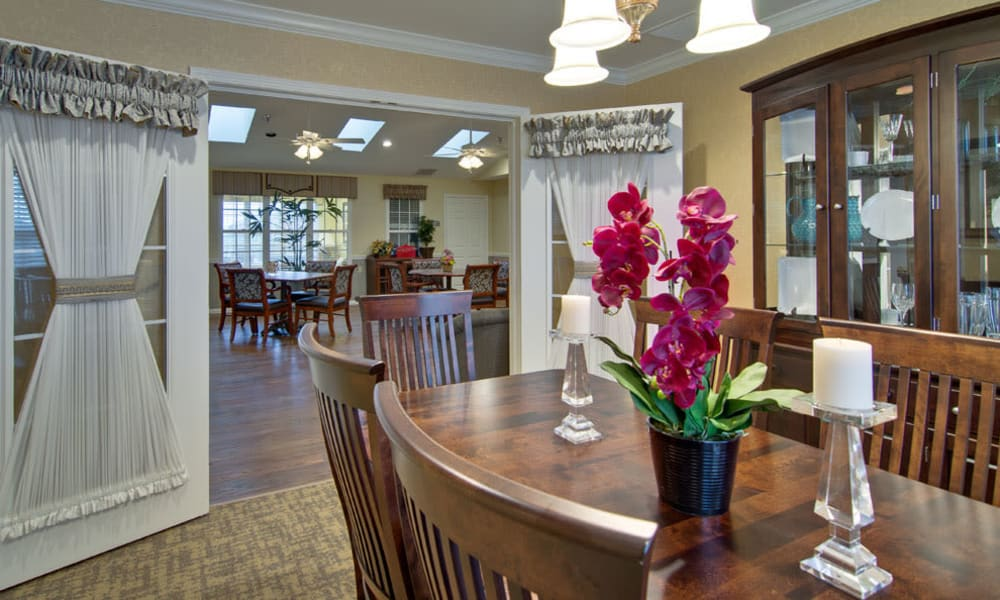 Family dining room at Maple Tree Terrace in Carthage, Missouri