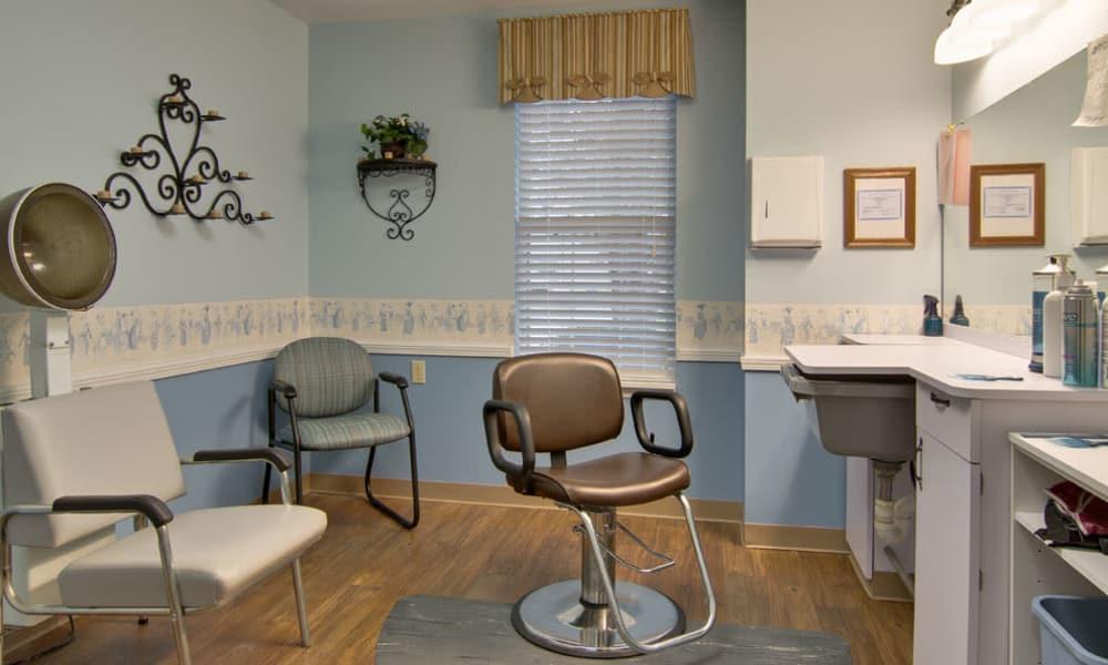 Resident hair salon at Maple Tree Terrace in Carthage, Missouri