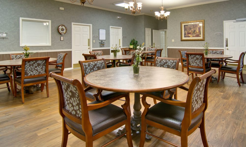 Dining area at the center of Maple Tree Terrace in Carthage, Missouri