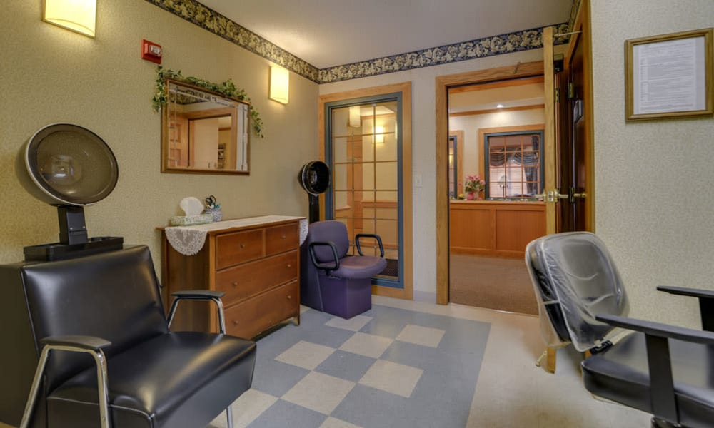 Resident hair salon at River Bend in Great Bend, Kansas