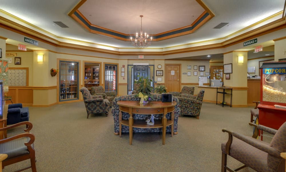 Cozy seating in the lobby at River Bend in Great Bend, Kansas