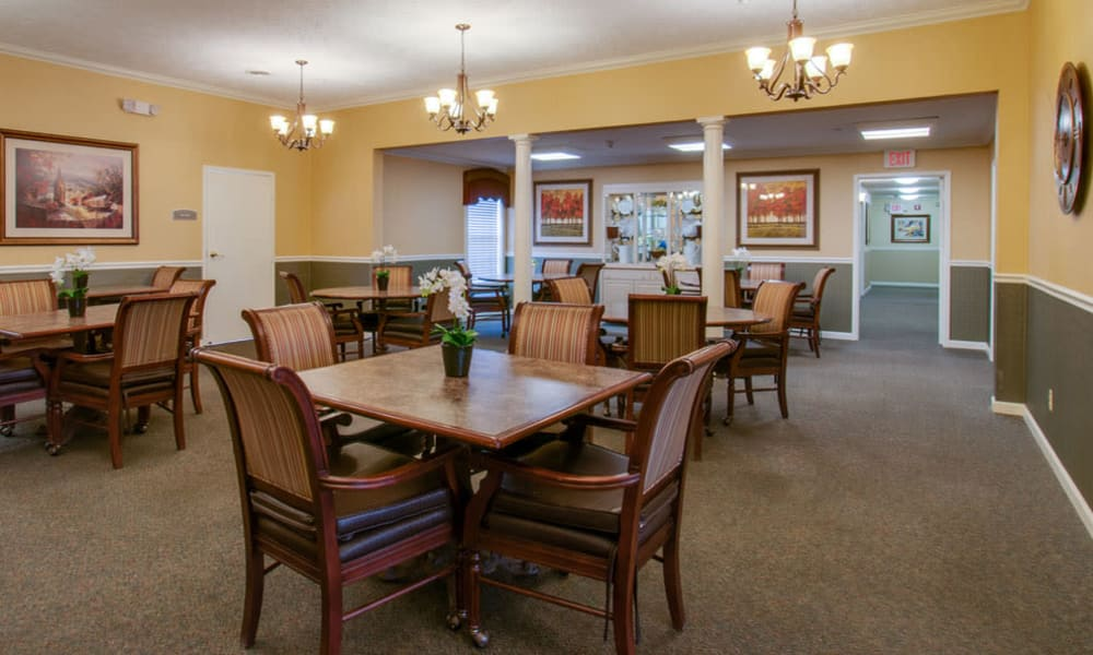 Dining area at the center of RiverWick in Savannah, Tennessee