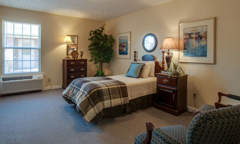 Large bedroom for assisted living residents at RiverWick in Savannah, Tennessee