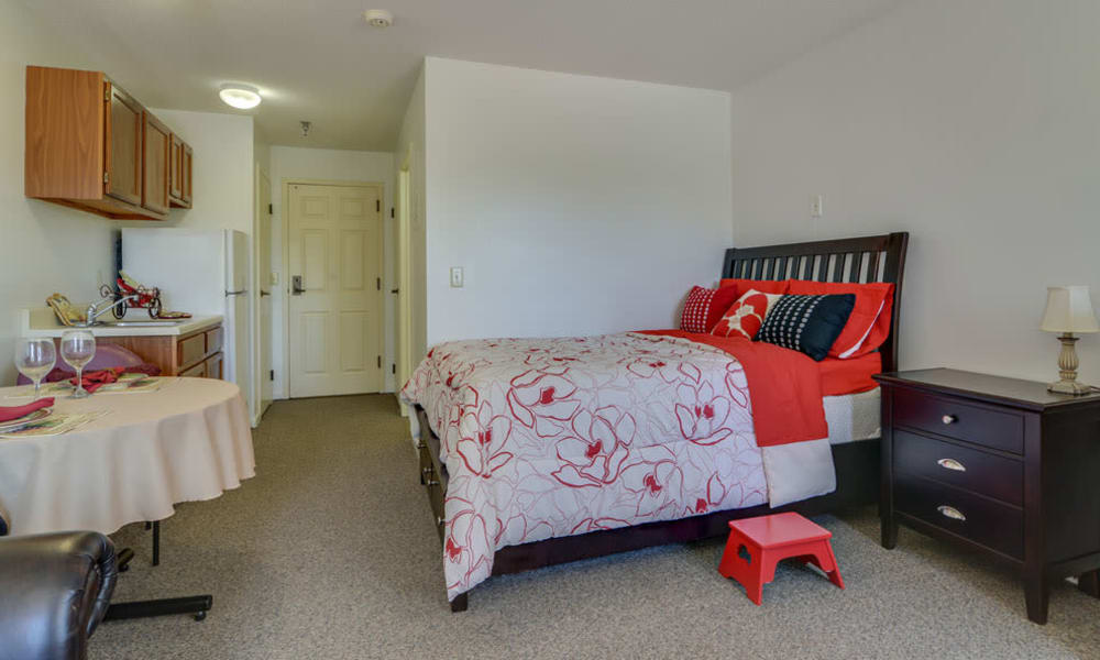 Large bedroom for assisted living residents at Harmony Gardens in Warrensburg, Missouri