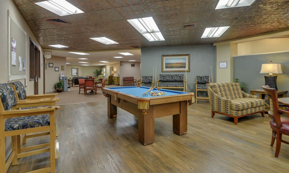 Billiards table available for residents in the lounge at SummitView Terrace in Kansas City, Missouri