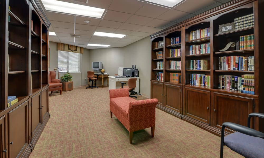 Resident library with computer access at SummitView Terrace in Kansas City, Missouri