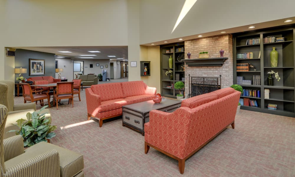 Cozy seating in the lobby at SummitView Terrace in Kansas City, Missouri