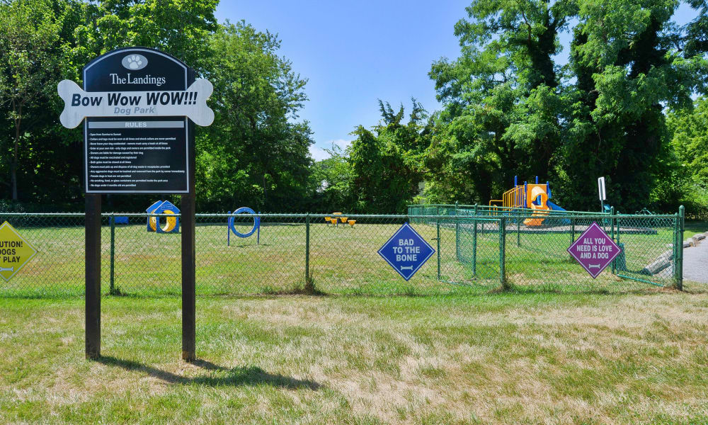 Beautiful dog park at The Landings Apartment Homes in Absecon, New Jersey