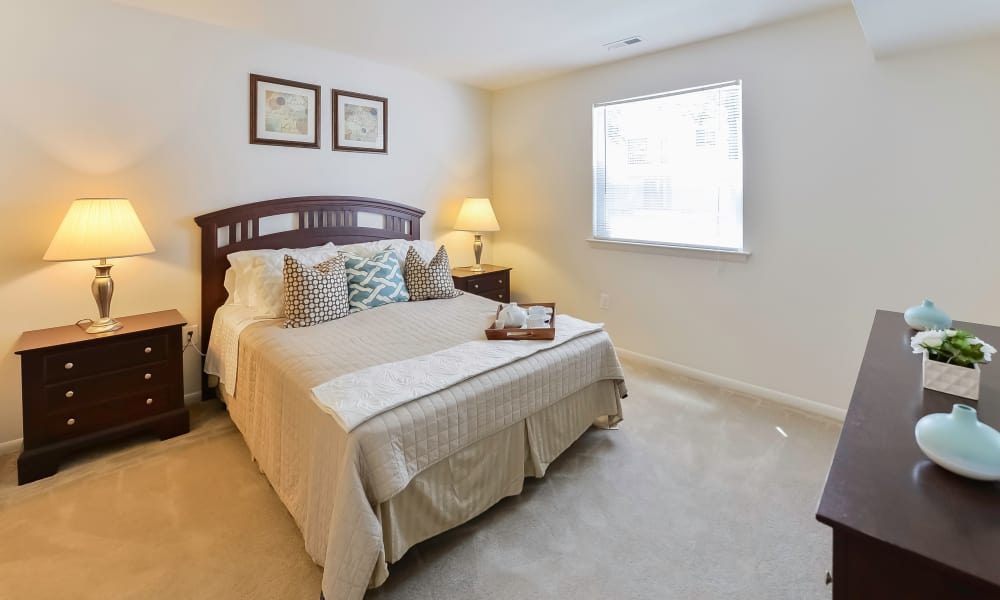 Modern bedroom at The Landings Apartment Homes in Absecon, New Jersey