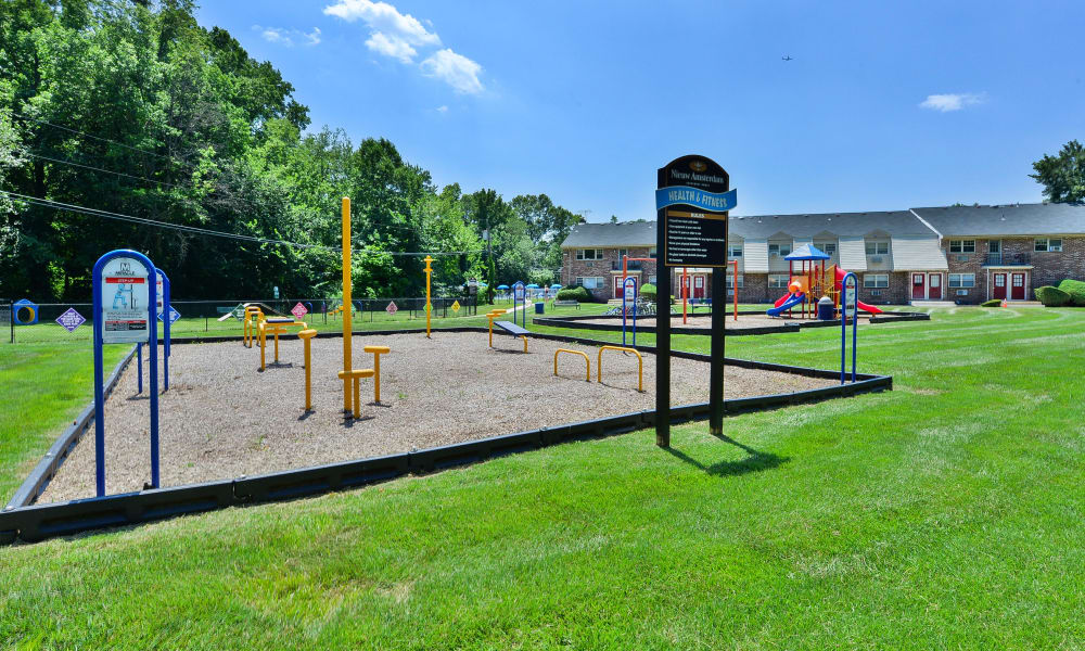 A playground that is great for entertaining at Nieuw Amsterdam Apartment Homes in Marlton, New Jersey