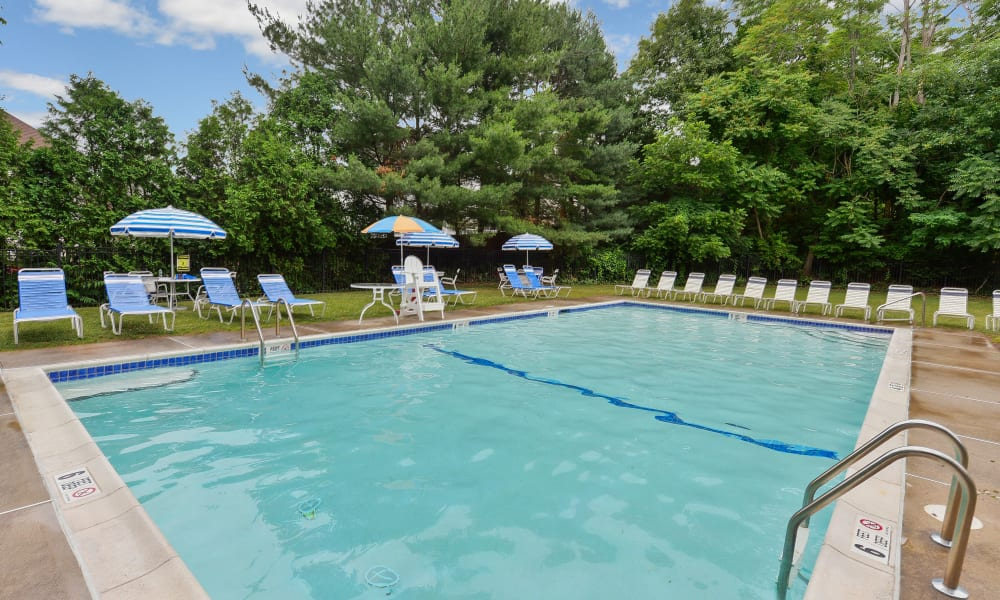 Spacious swimming pool at Rolling Gardens Apartment Homes in Mahwah, New Jersey
