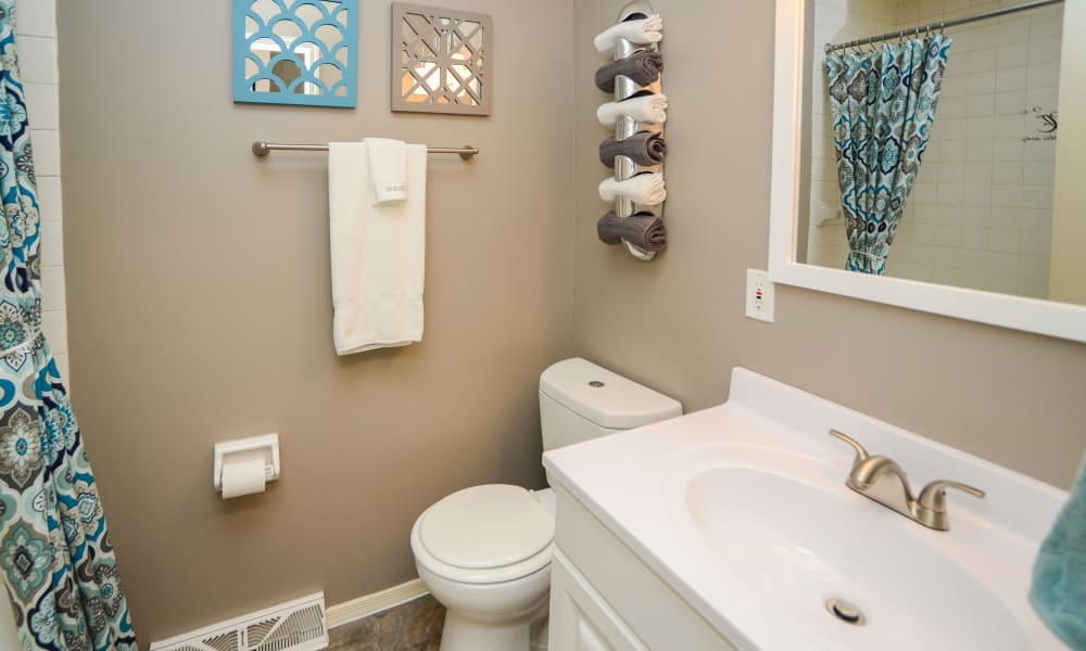 Modern bathroom at Greentree Village Townhomes in Lebanon, Pennsylvania
