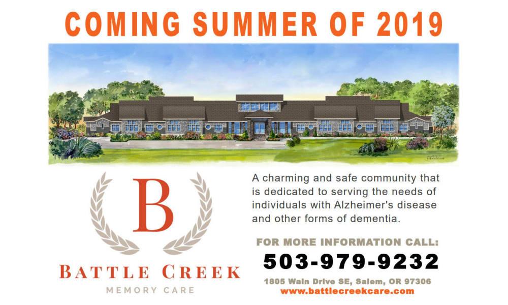 Coming soon flyer for Battle Creek Memory Care in Salem, Oregon