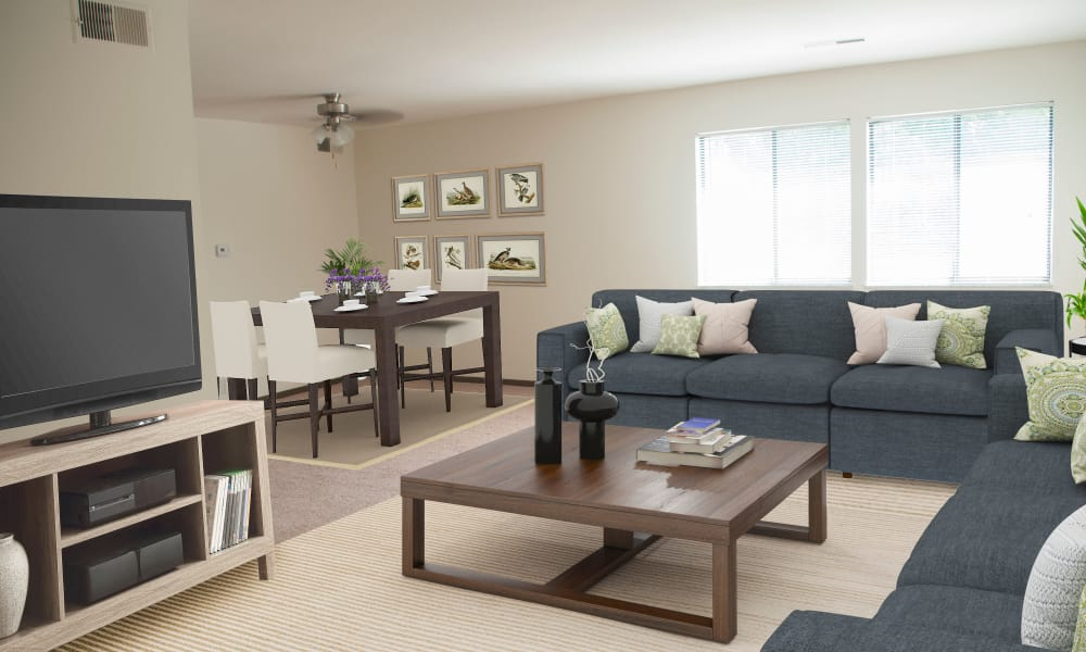 Living Room at Squires Manor Apartment Homes in South Park, PA