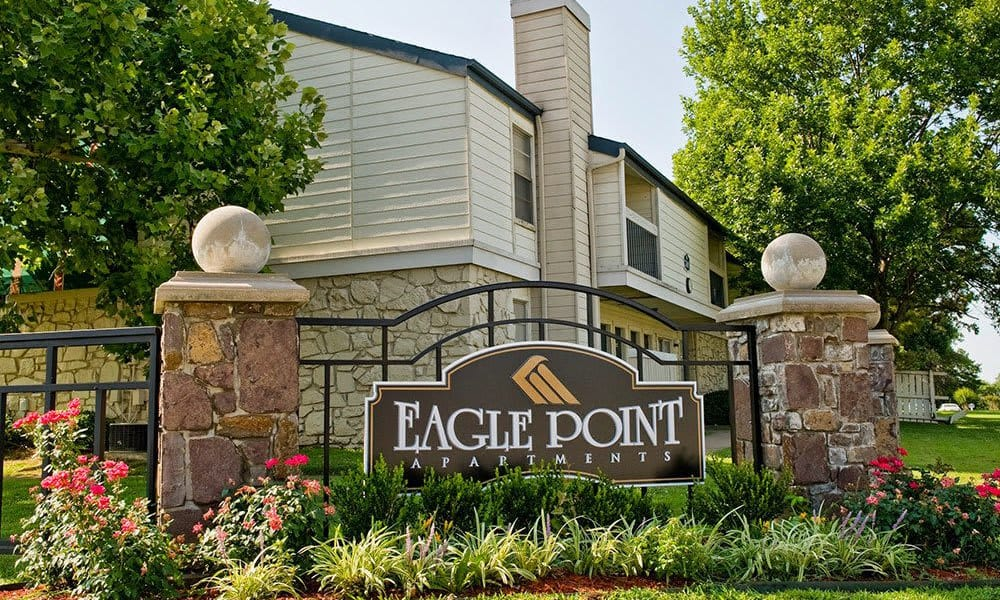 Front sign at Eagle Point Apartments in Tulsa, Oklahoma