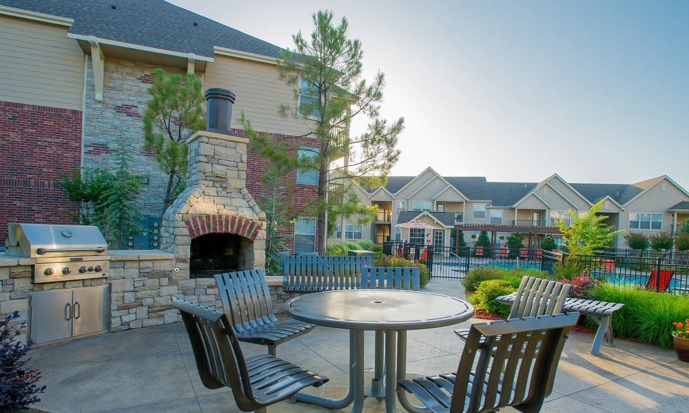 A patio area with a great view at Nickel Creek Apartments in Tulsa, Oklahoma