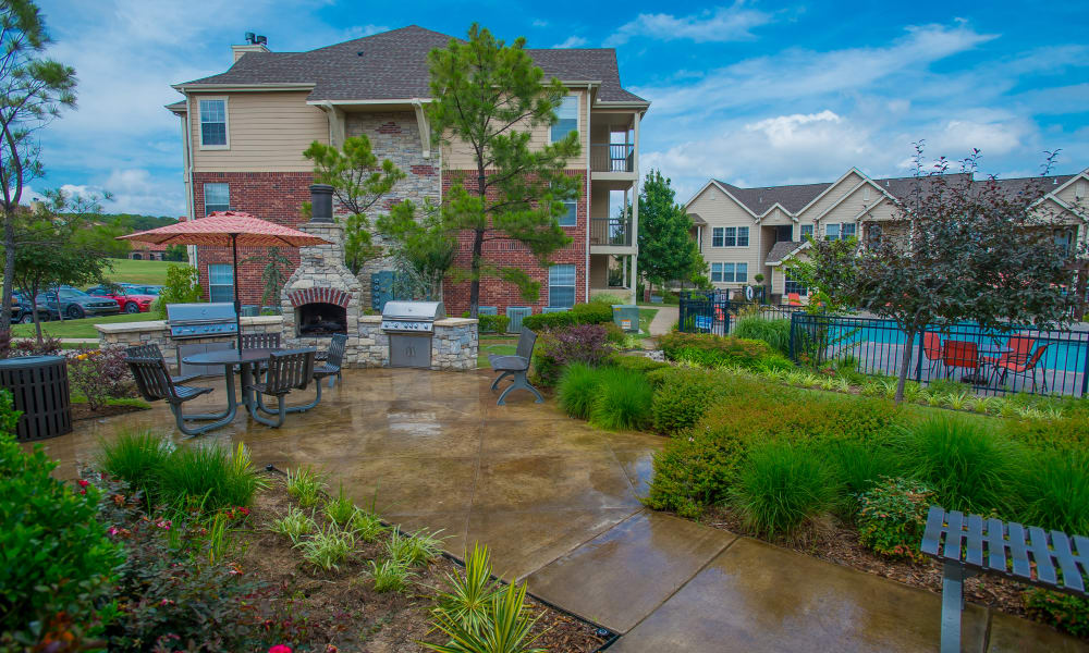 The walkway to the building at Nickel Creek Apartments in Tulsa, Oklahoma