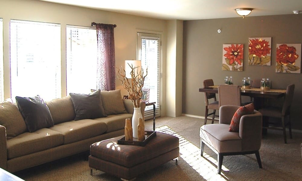 An apartment living room with decorations at Park at Coulter in Amarillo, Texas
