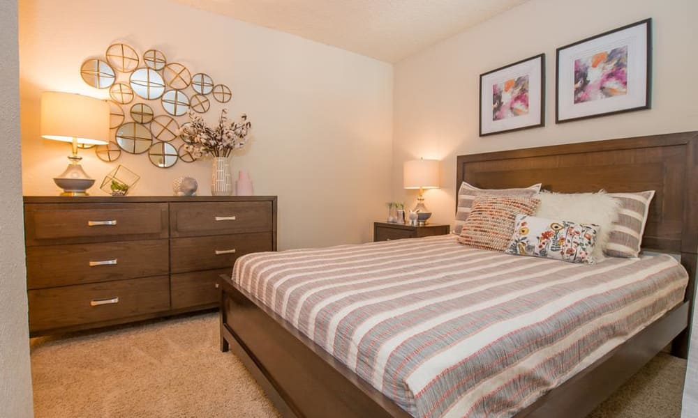 Bright bedroom at Sunchase Apartments in Tulsa, Oklahoma