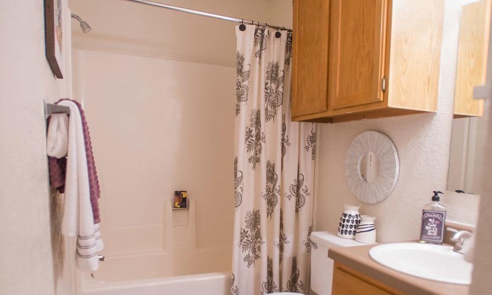 An apartment bathroom at Tammaron Village Apartments in Oklahoma City, OK