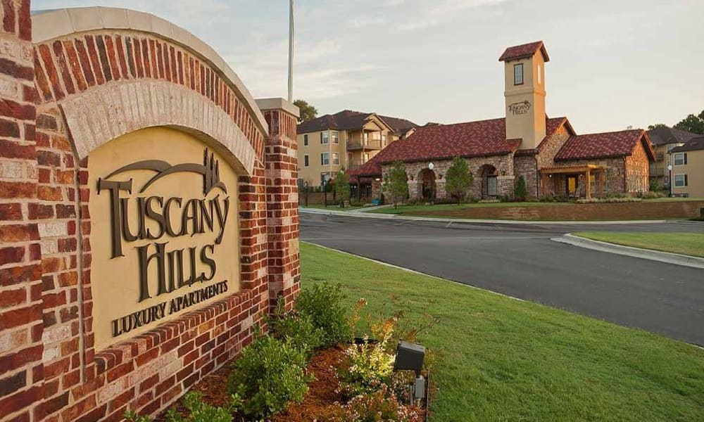 The sign in front of Tuscany Hills in Tulsa, Oklahoma