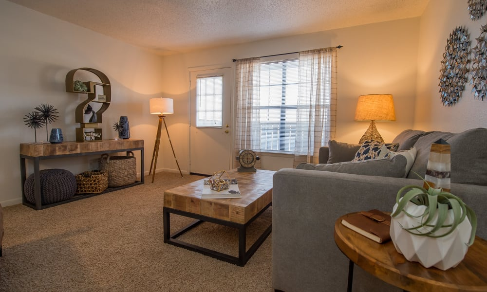 An apartment living room at Waters Edge in Oklahoma City, OK