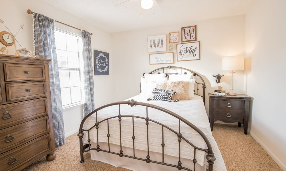 An apartment bedroom at Waters Edge in Oklahoma City, OK