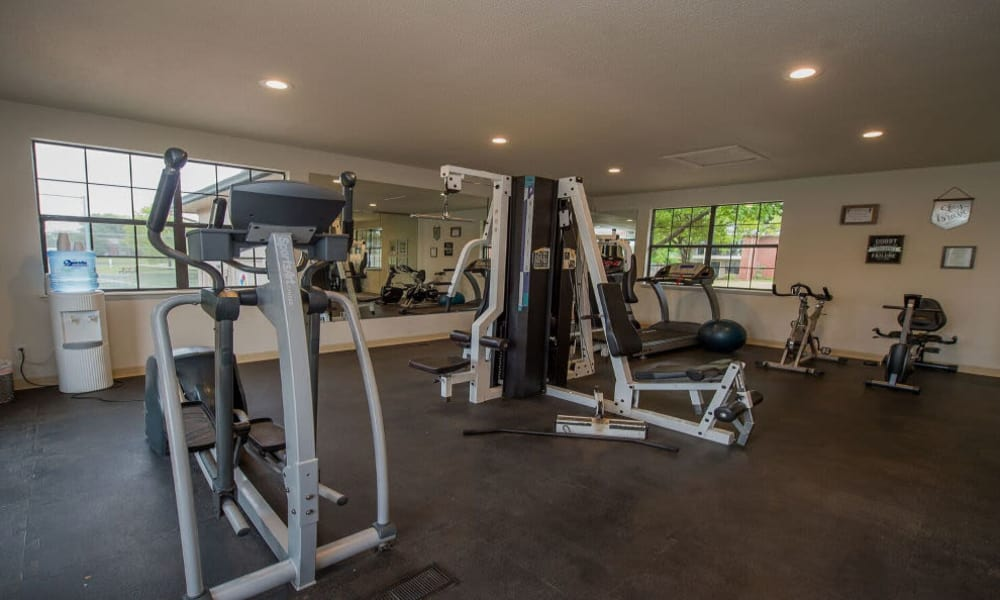 Well-equipped fitness center at Waters Edge in Oklahoma City, Oklahoma