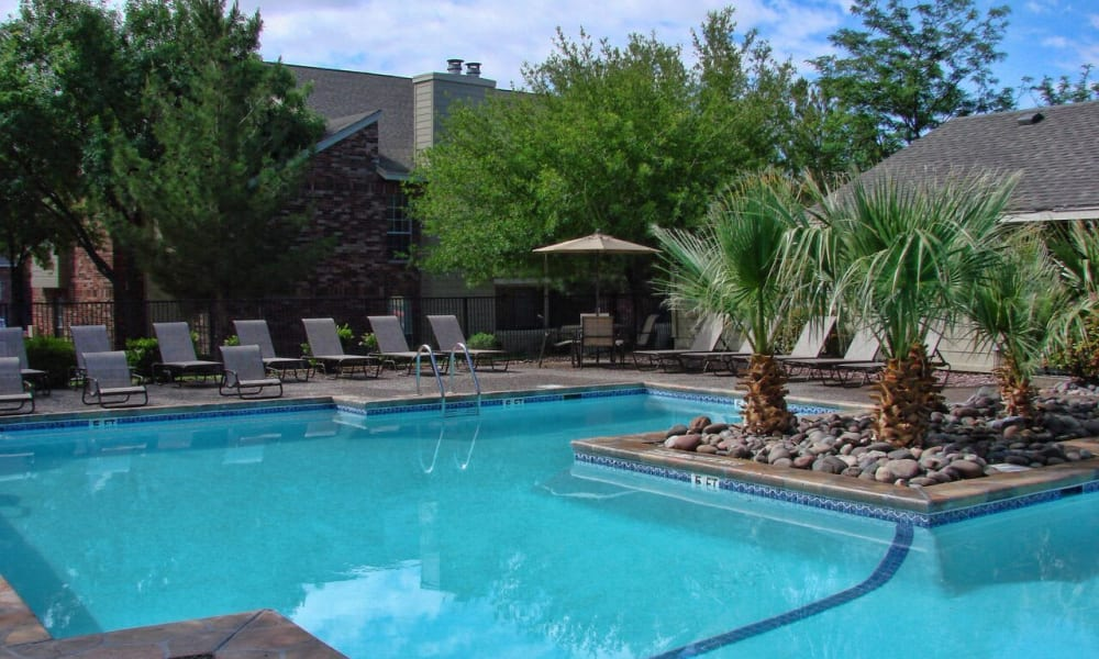 A large community pool at The Chimneys Apartments in El Paso, Texas