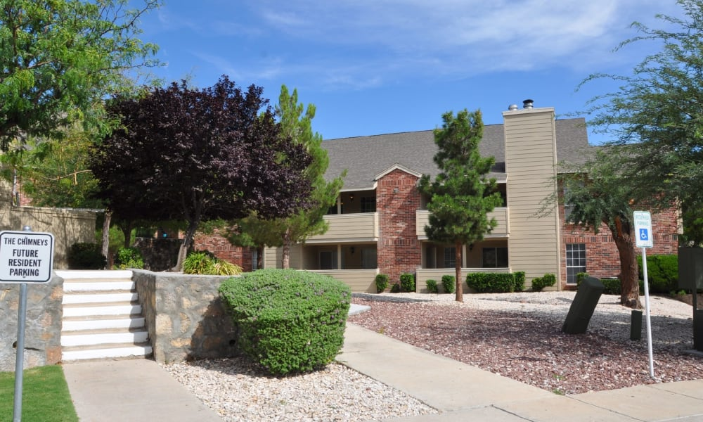 A well landscaped property at The Chimneys Apartments in El Paso, Texas