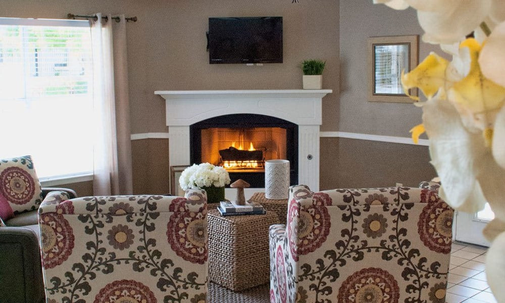 A fire place at The Phoenix Apartments in El Paso, Texas